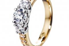 Tulppaani-timanttisormus-runkotimanteilla-kultasepät-andreasen